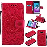Galaxy J3 2016 Case, KKEIKO� Galaxy J3 2016 Flip Leather Case [with Free Tempered Glass Screen Protector], Shockproof Bumper Cover and Premium Wallet Case for Samsung Galaxy J3 2016 (Red)