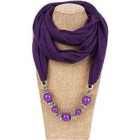 Longsw, Foulard da donna, con collana e perle, tinta unita 2