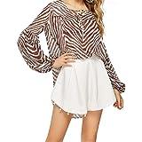 Wamvp Camicia Zebra Manica Lunga Sfilacciata A Manica Lunga Estiva per Le Donne