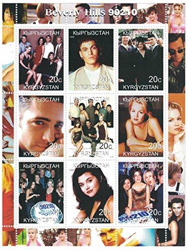 Briefmarken für Sammlermit Stempel-Tabelle mit Beverly Hills 90210Serien-Figuren aus der Show, Kirgisistan