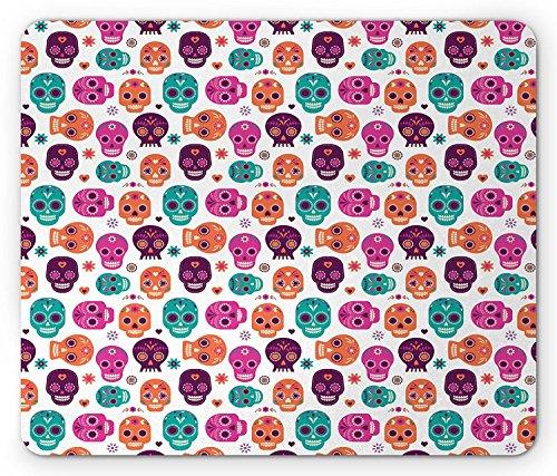 Day Of The Dead Mouse Pad by, Dia de Los Muertos Skull Masks with Floral Style Design Print, Standard Size Rectangle Non-Slip Rubber Mousepad, Pale Orange Plum Seafoam (Plum Pale)