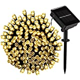 Solar Powered String Lights, 500 LED 8 Modes Christmas Starry Fairy String Lights, Indoor/Outdoor Waterproof Solar Decoration Lights for Gardens, Home, Dancing, Party(Warm White)