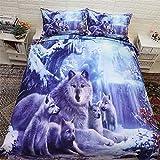 WONGS BEDDING Bettbezug Set Double Size Wolf Bettwäsche Set 3 Stück Hypoallergene Mikrofaser Tier Bettbezug für Kinder Jungen Teens 200cm*200cm