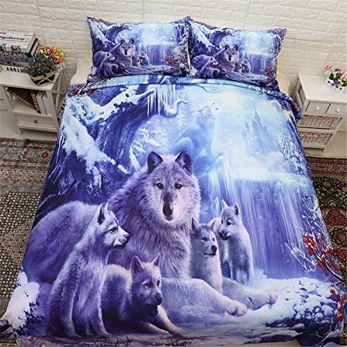 WONGS BEDDING 3D Tier Bettbezug Schnee Wolf Bettwäsche Set 2 Stück Bettbezug für Kinder Jugendliche Weich hypoallergen Mikrofaser 135cm * 200 cm