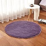 LIYINGKEJI Runde Teppiche für Kinderzimmer Teppiche Kinder Spielen Super Soft Wohnzimmer Schlafzimmer Home Shaggy Teppich 60X60 cm (Tiefes Lila)