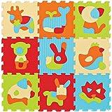 LUDI – Tapis de sol épais pour l'éveil de bébé – 10005 - puzzle géant aux motifs Animaux – dès 10 mois – lot de 9 dalles en m