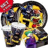 Lego Batman Geburtstag-Deko, 64- teilig zum Kindergeburtstag, Party-Set für 8 Kids