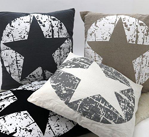 Dekokissen Maritim Vintage Sterne in beige weiß mit Füllung & Reißverschluß 45×45 cm hochwertig aus 60% Baumwolle 40% Leinen STERN Kissen Typ384 - 2