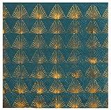 Servietten Art Deco in Petrol blau & Gold-Muster / Tisch-Dekoration / Papier-Servietten / Party, Weihnachten, Advent, Geburtstag, Silvester & Hochzeit (40 Servietten)