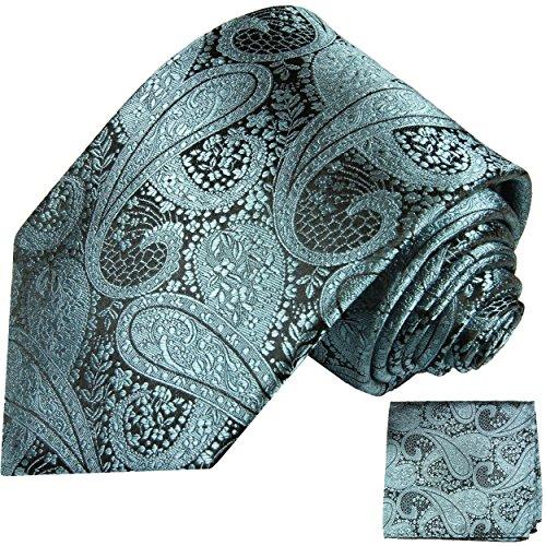 Cravate homme bleu gris paisley ensemble de cravate 2 Pièces ( longueur 165cm )