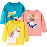 Camiseta de Manga Larga para niñas, Camiseta de algodón, Informal, cálida, con gráfico de Unicornio, Dibujos Animados, Conjun