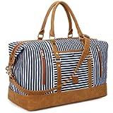 Plambag 43L Canvas Duffel Bag, Water-Repellent Canvas & PU Leather Stripe Tote Bag Overnight Weekender Bag…