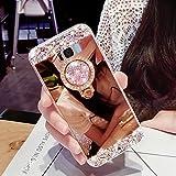 Girlyard Silikon Glitzer Hülle für Galaxy S8 Plus Spiegel Rose Gold, Ultra Slim Weiche TPU Bumper Luxus Bling Diamant Schutzhülle Crystal Clear Backcover mit 360 Grad Strass Ring Ständer pour Samsung Galaxy S8 Plus