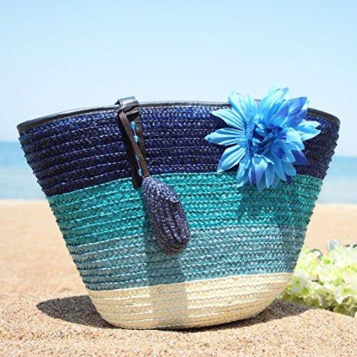 GUMO-Borsa da spiaggia, fiore sacchetto, sacchetto di tessuto, big bag, borsa di paglia, borsa a tracolla e borsa vacanze, borsetta,verde colour