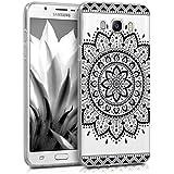 kwmobile Funda para Samsung Galaxy J7 (2016) - Case para móvil en TPU silicona - Cover trasero Diseño Girasol Azteca en negro transparente