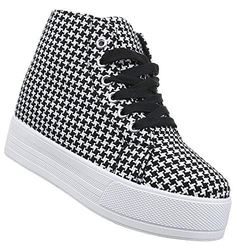 Damen Sneaker Schuhe Freizeitschuhe Keilabsatz Wedges Stiefelette High-Top Halbschuhe schwarz weiss grau 36 37 38 39 40 41 Schwarz Weiß