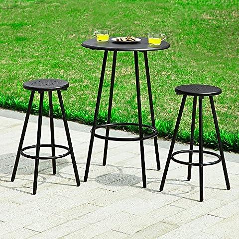 SoBuy® El conjunto 1 mesa redonda bar restaurante y 2 taburetes con reposapiés, establecer taburetes de bar, OGT08-SCH,