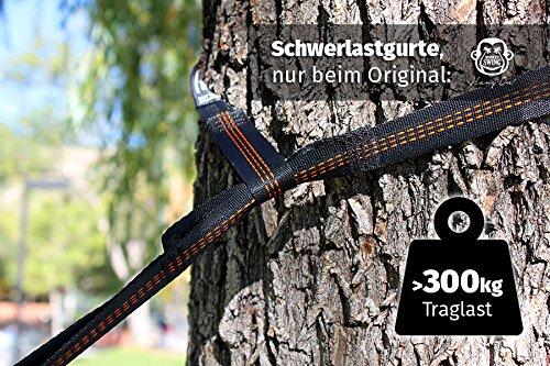 Monkey Swing Hängematte aus Fallschirm Nylon Ultra Light (275 x 140 cm, 180 kg Traglast) im Set mit Haltegut und Karabiner - 8