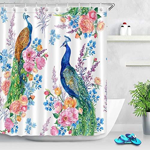 WZYMNYL Vögel Pfau Und Blumen Weiß Extra Lange Duschvorhänge Bad Vorhang Wasserdichtes Polyestergewebe Für Kunst Badewanne Dekor (Pfau Dekor Bad)