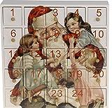 Adventskalender Santa Claus nostalgisch zum Befüllen Holz 23x23x6 cm