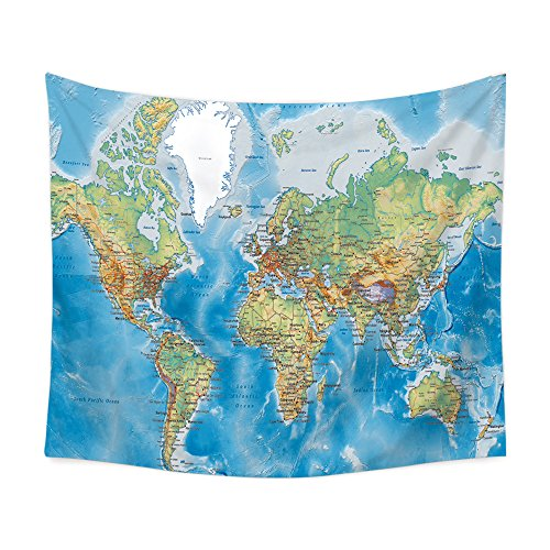 Mapa del Mundo pared Hanging Vintage acuarela tapiz multicolor retro hippie pared...