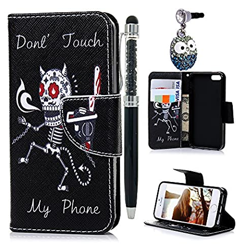 iPhone 5 Leather Case KASOS iPhone 5s Leather Cover iPhone SE Shell Contrast Cute Dancing Skeleton Red Eyes Skull Evil Devil Demon Matte Leather [Flip Wallet Purse Leather Shell]Notebook Design[Cash/Card Slots] Change Pouch TPU Inner Bumper [Kicktand Cradle] Magnetic Closure Lock Protective Skin With Pen Stylus& Little Owl Dust