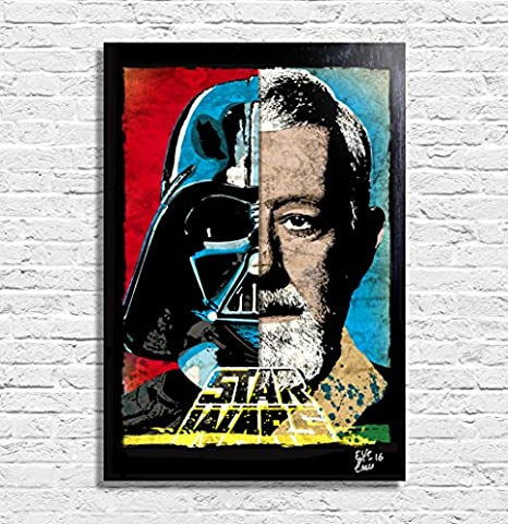 Darth Vader (Dark Vador) et Obi Wan Kenobi, Star Wars film - Illustration originale encadrée, peinture, presse artistique, poster, toile imprimée, art contemporain, image sur toile, affiche d'art, bandes dessinées, pop art