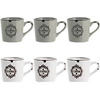H&H Vintage Set de Tasses à Café, céramique/grès, Blanc/Taupe, 6 unités