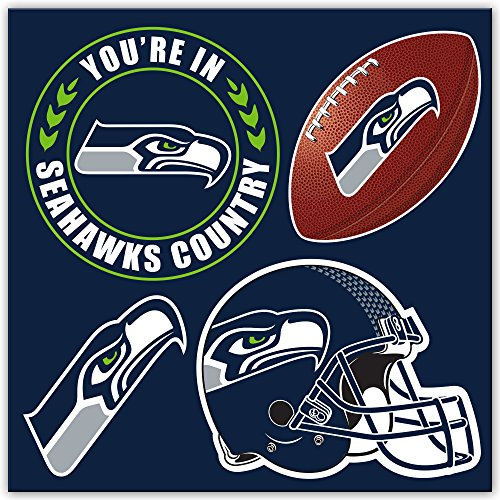 Unisex Seattle Seahawks 4Piece Magnet-Set, Marineblau, One Size ()