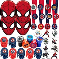 Spiderman Birthday Party Favors Pack and Goodie Bag Filler For 12 Guests With Stampers, Medals, Disc Shooters, Tattoos, Masks, and Pin