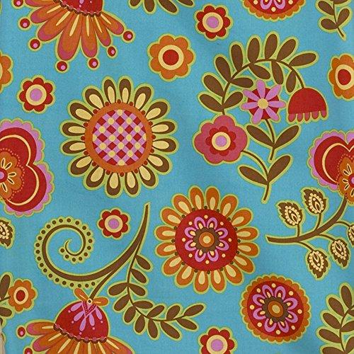 Cotton Tale Designs Gypsy Big Flower Fabric, Blue Background