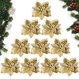 MEJOSER (Dia. 22cm) 10 Pezzi Ornamenti Albero di Natale Oro Fiore Artificiale Finti Addobbi Natalizi Decorazioni Natalizie