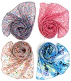 #1: Letz Dezine Printed Chiffon Set of four mullticoloured stoles; scarf and stoles for women