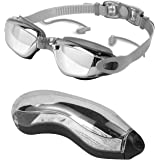 Swimming Goggles, Anti Fog Swim Goggles Adults UV Protection Adults No Leaking Swim Glasses for Men and Women Silver/Blue/Pin