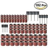 UEETEK 102pcs bandas de tambor que enarena pedacitos determinados de la con mandriles de goma para uñas taladro Kit Proxxon Foredom herramientas rotatorias 80 Grit