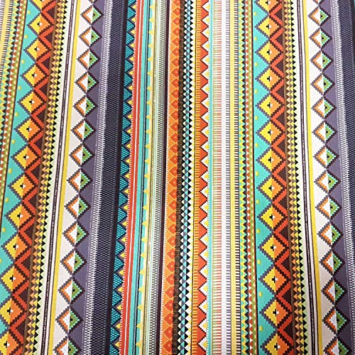 Stoff Baumwollstoff Meterware grau orange bunt Streifen Mexiko Mexico gestreift mexikanisch -