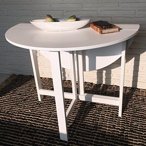 Küchentisch Esstisch Esszimmertisch weiß 96 x 75 cm 2-fach klappbar Klapptisch runder Tisch Landhausstil