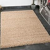 VIMODA Prime Shaggy Teppich in Beige Hochflor Langflor Teppiche Modern für Wohnzimmer Schlafzimmer Einfarbig, Maße:200 cm Quadrat