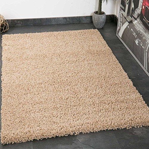 VIMODA Prime Shaggy Teppich in Beige Hochflor Langflor Teppiche Modern für Wohnzimmer Schlafzimmer Einfarbig 70x140 cm
