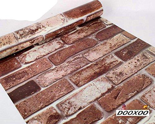 dooxoo 44x 200cm Küche PVC Aluminium Folie self-adhensive Mosaik Aufkleber Öl Tapete Wand Aufkleber Badezimmer Spiegel Wasserdicht Wandtattoo (braun)