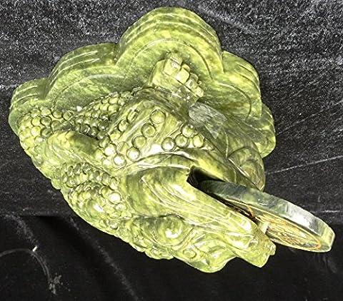 25cm en jade vert grenouille Crapaud porte-bonheur avec pièce de monnaie dans la bouche LA10