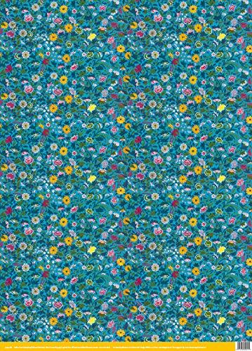 Museum und Galerien 1Blatt Blau Blumen Chinesische Ornament Luxus Geschenkpapier, Collection (Pad Tape Verpackung)