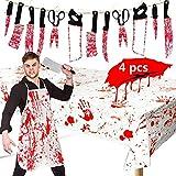 BangShou 4 piezas creaciones de Halloween sangriento carnicero disfraz decoración conjunto Delantal sangriento, cubierta de tabla, cuchillo falso, pancarta colgante para decoraciones de fiesta de Halloween