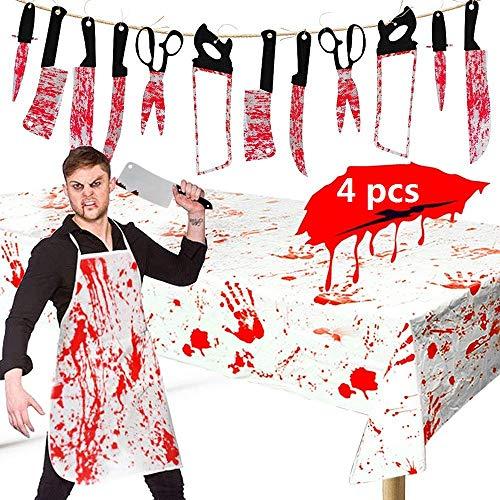 Blutige Metzger Kostüm - BangShou 4 STÜCKE Creations Halloween Blutige Metzger Kostüm Dekoration Set. Blutige Schürze, Tisch Decken, gefälschte Messer, hängenden Messer Banner für Halloween Party Requisiten Dekorationen