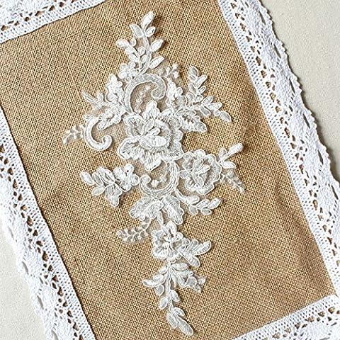 25,4x 15,2cm Elfenbeinfarben mit Stickerei Blume Spitze Applikation Braut Schleier Kostüme 6Stück Supplies