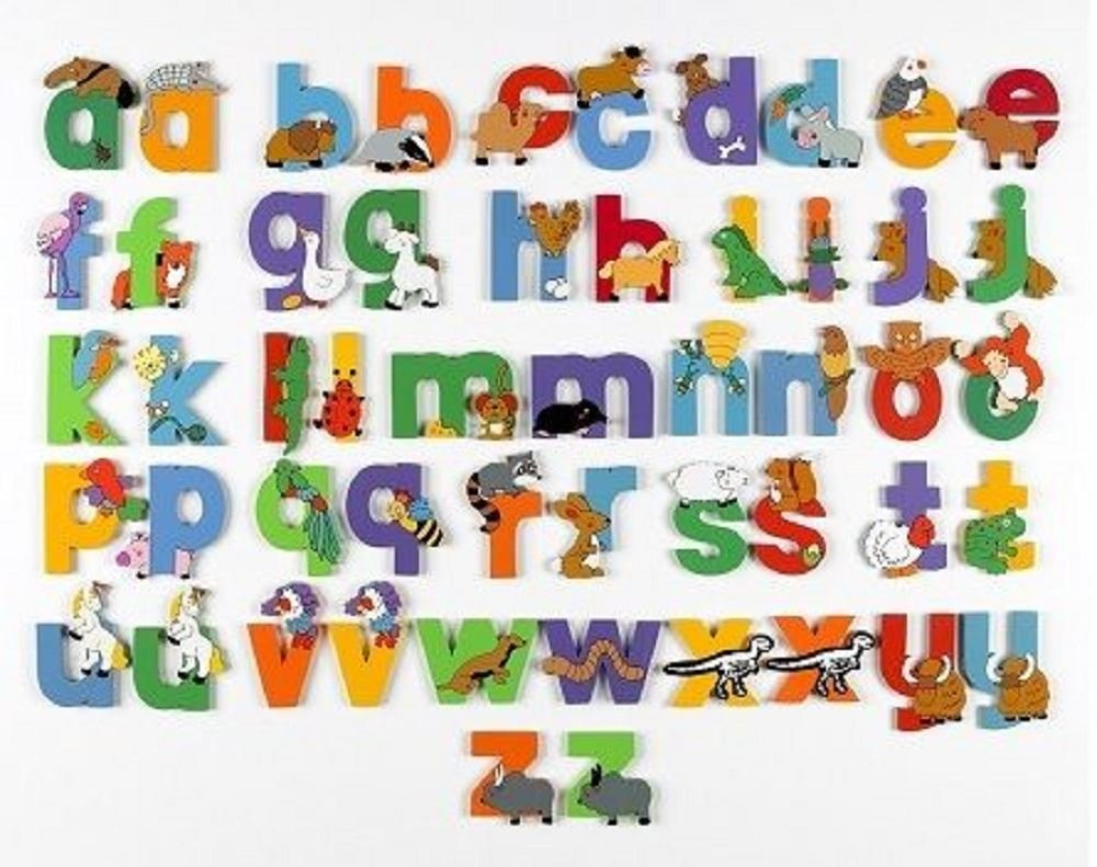 wooden lower case jungle animal alphabet letters personalised