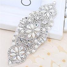 Cristales y Rhinestone Plancha-on Applique con Perlas para la boda Bridal Belts Headpieces Garters