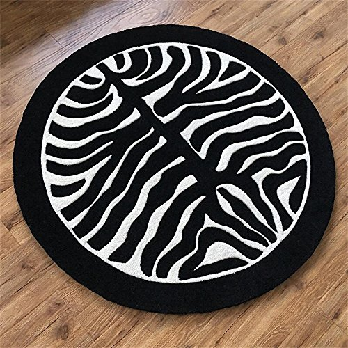 LYP-Teppiche modernen europäischen Stil Wohnzimmer Schwarz-Weiß-Zebra-Streifen Runde Teppich Wohnzimmer Couchtisch Teppich Schlafzimmer Nachttisch Computer Stuhl Dicker Matte Gewaschener Couchtisch Nachttischteppich ( größe : Diameter-110CM )
