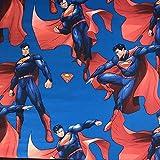 Hochwertiger bedruckter Stoff mit Supermann-Motiv, 100% Baumwolle, feines Gewebe, Kinderstoff für Vorhänge und Bettwäsche, 140cm breit, Meterware, Lizenzprodukt