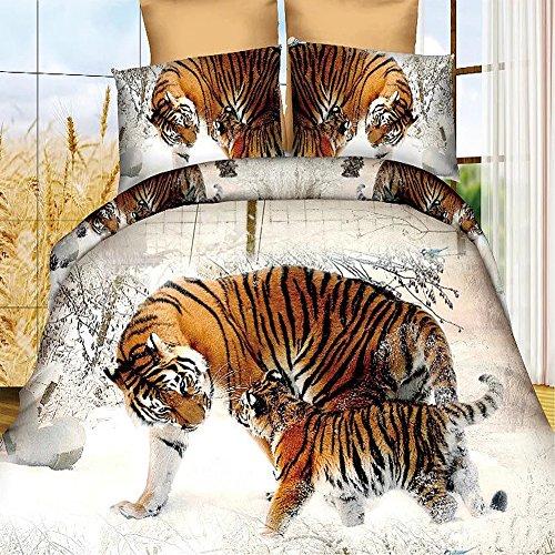 4Snow Winter Tiger 3D Bettwäsche-Set Animal Prints Bettbezug Set Double Größe (Set Tröster Tiger)